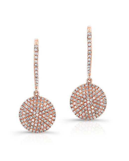 Anne Sisteron | Pink 14kt Rose Gold All Diamond Disc Earrings | Lyst
