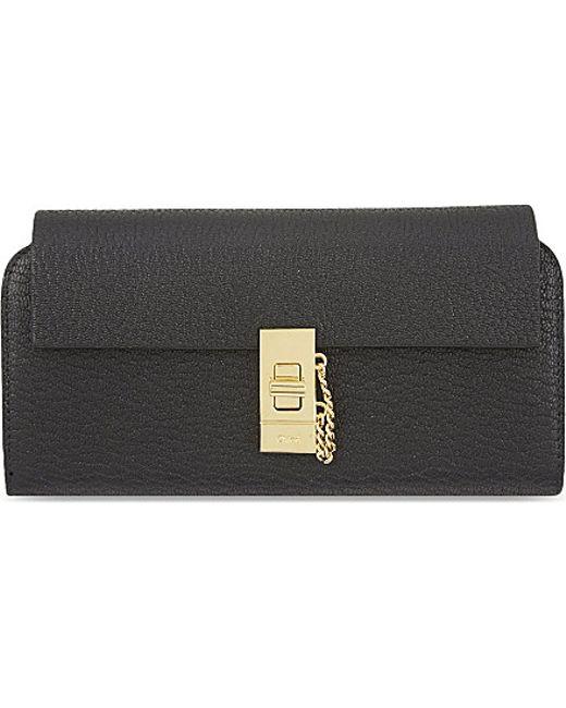 Chloé   Black Drew Lamb Leather Wallet   Lyst