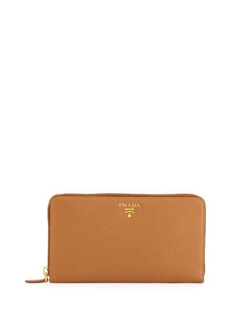Prada Saffiano Metal Oro Travel Wallet In Brown Caramel