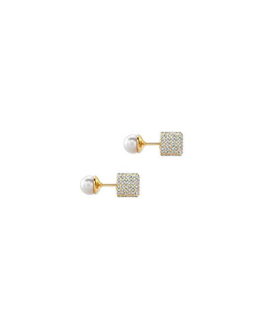 Vita Fede | Metallic Double Cubo Pearl Earrings In Yellow Gold | Lyst