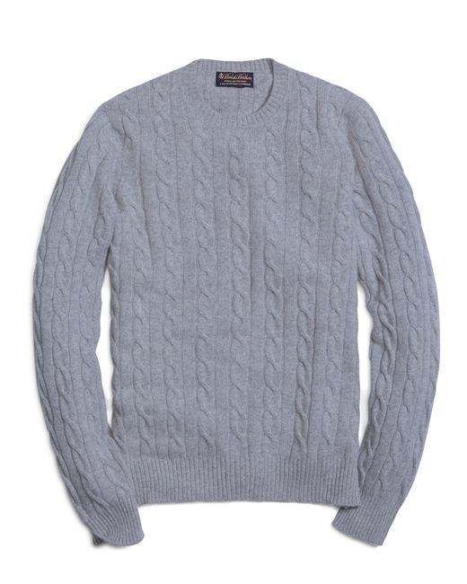 Brooks Brothers | Gray Cashmere Cable Crewneck Sweater for Men | Lyst