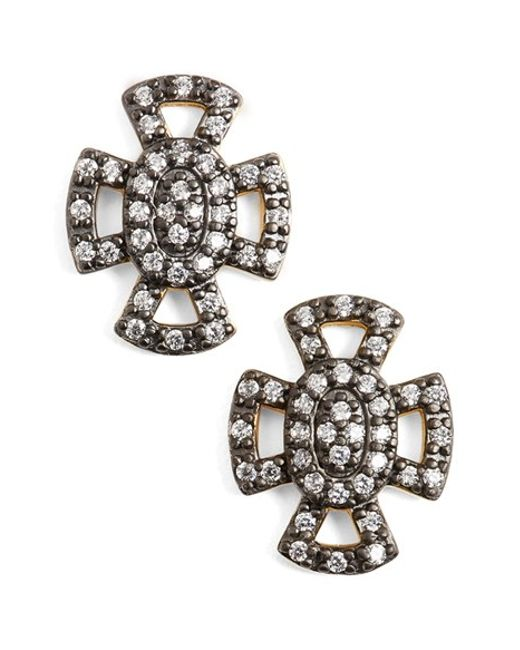Freida Rothman | Metallic 'metropolitan' Maltese Cross Stud Earrings | Lyst