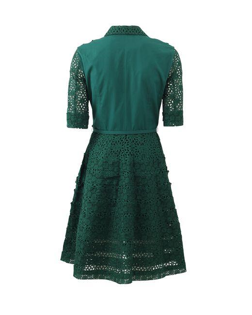 Oscar de la renta eyelet and lace shirt dress in green for Mens eyelet collar dress shirts