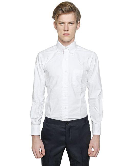 Thom browne button down cotton poplin shirt in white for for Thom browne white shirt