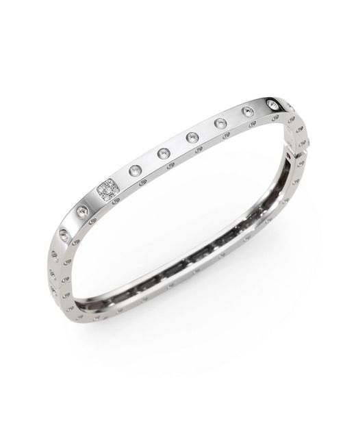 Roberto Coin | Metallic Pois Moi Diamond And 18k White Gold Single-row Bangle Bracelet | Lyst