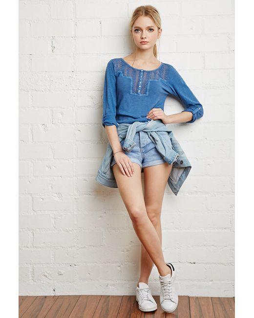 Forever 21   Blue Crocheted Slub Knit Top   Lyst