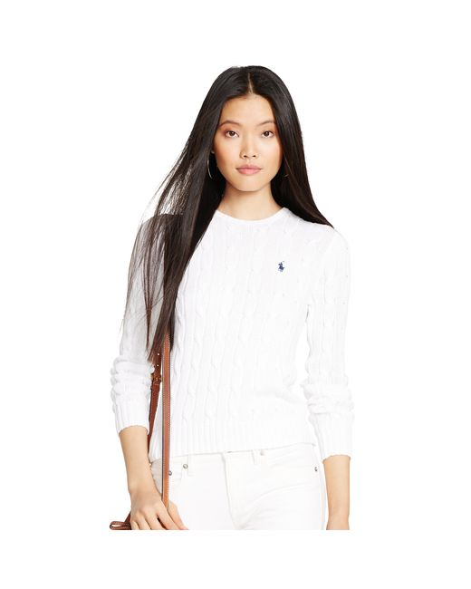 Polo Ralph Lauren | White Cable-knit Crewneck Sweater | Lyst