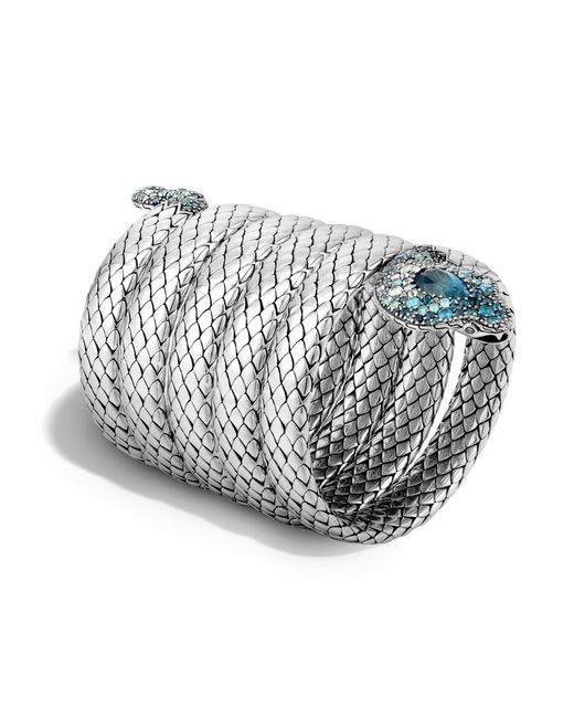 John Hardy   Cobra Multiple Coil Bracelet With Blue Topaz And Diamonds   Lyst