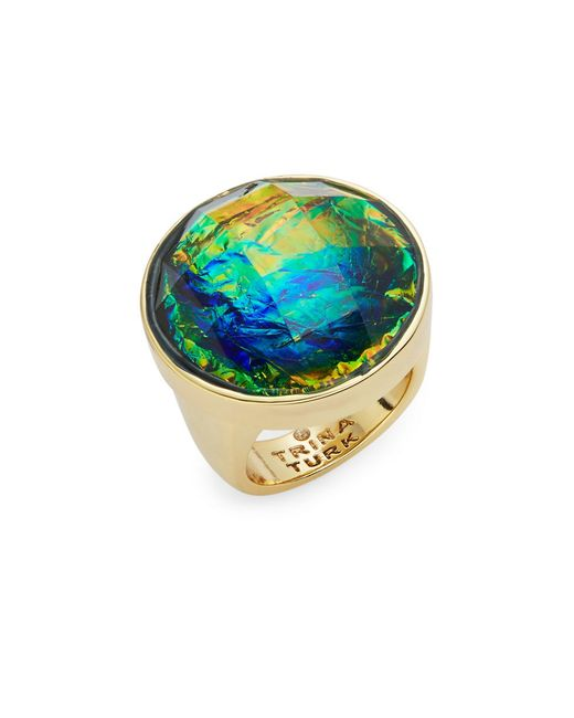 Trina turk Iridescent Stone Cocktail Ring in Gold (Green ...