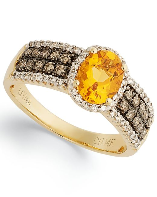 Le Vian | Citrine (1 Ct. White Diamond (1/4 Ct. T.w.) And Chocolate Diamond (1/3 Ct. T.w.) Oval Ring In 14k Gold | Lyst