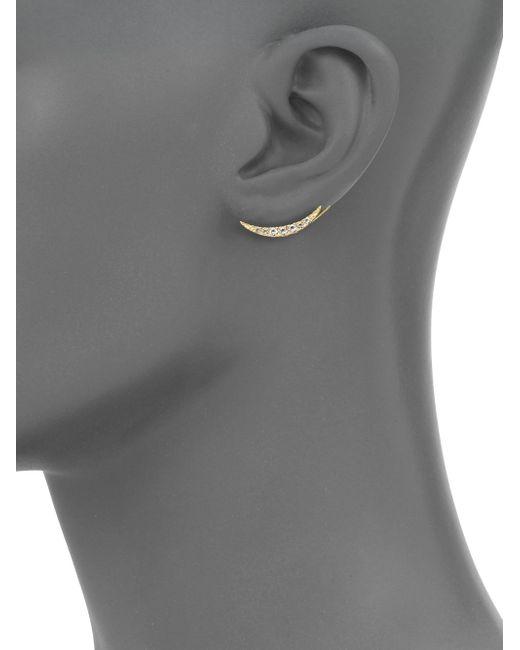 Elizabeth and James   Metallic Lunette Luna White Topaz Ear Cuffs   Lyst