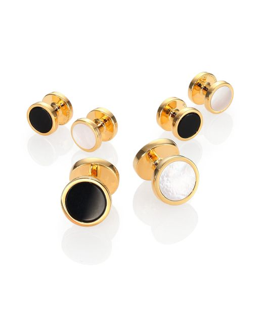 David Donahue | Metallic Gold-plated Silver, Onyx & Mother Of Pearl Reversible Stud Set | Lyst