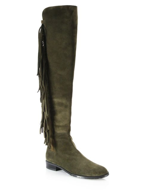 Stuart Weitzman | Green Mane Fringed Suede Over-the-knee Boots | Lyst