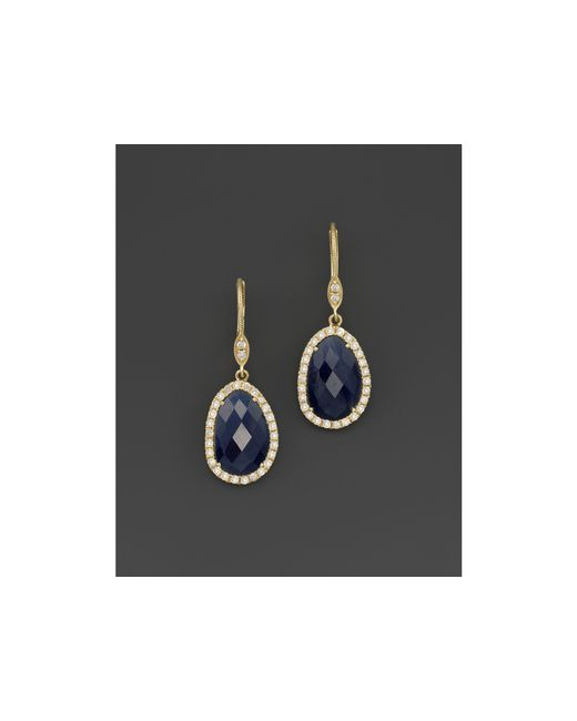 Meira T | Metallic 14k Yellow Gold Sapphire And Diamond Earrings | Lyst