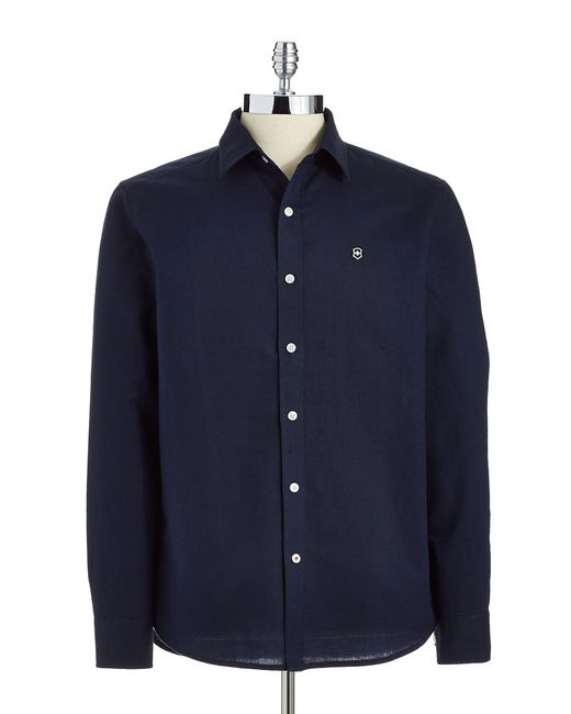 Victorinox | Blue Linen And Cotton Sportshirt for Men | Lyst