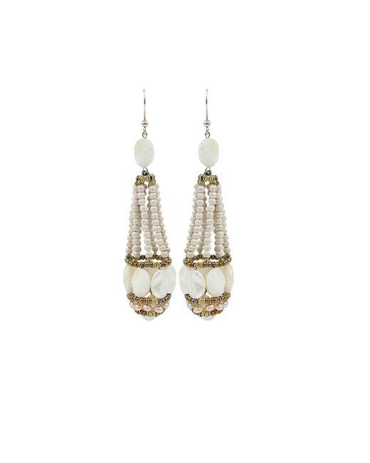 Ziio | Swing White Tassel Earrings | Lyst