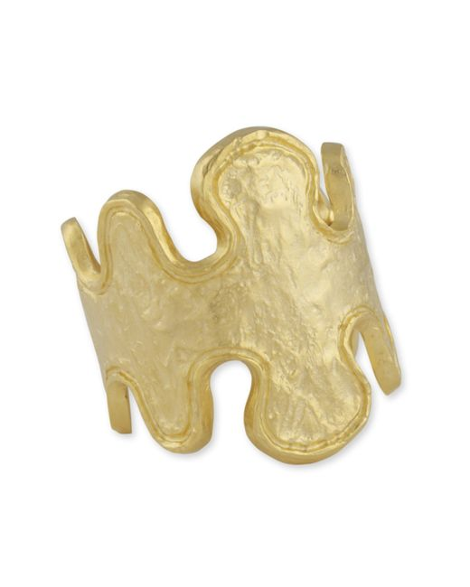 Kenneth Jay Lane | Metallic Abstract Gold Cuff | Lyst