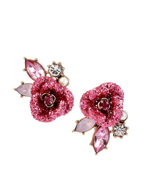 Betsey Johnson | Pink Glitter Rose Stud Earrings | Lyst