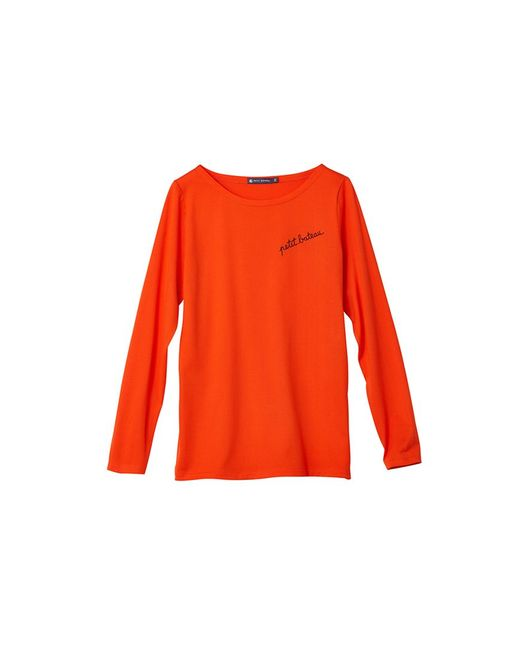 Petit Bateau | Red Women's Cotton Jersey Tee With '' Embroidery | Lyst