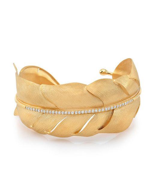 Anne Sisteron | Metallic 14kt Yellow Gold Leaf With Diamond Stem Cuff | Lyst