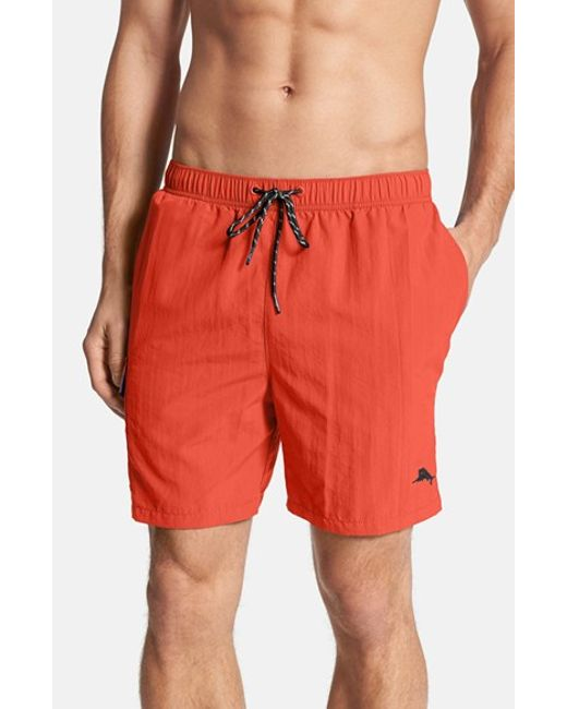 Tommy Bahama | Red 'the Naples Happy Go Cargo' Swim Trunks for Men | Lyst