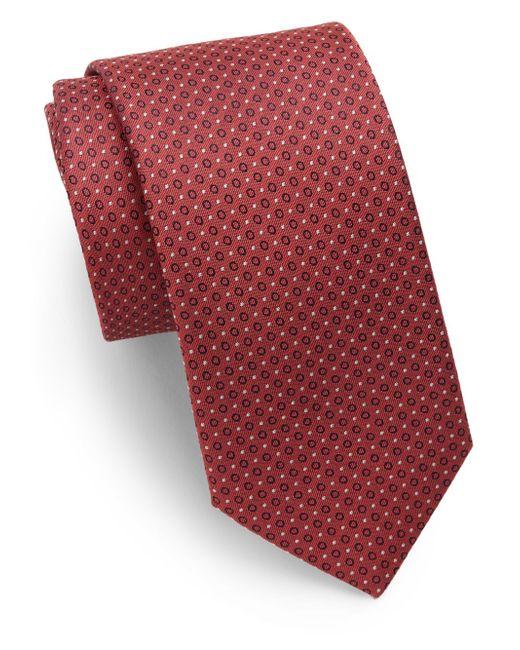 Saks Fifth Avenue | Red Neat Pattern Silk Tie for Men | Lyst