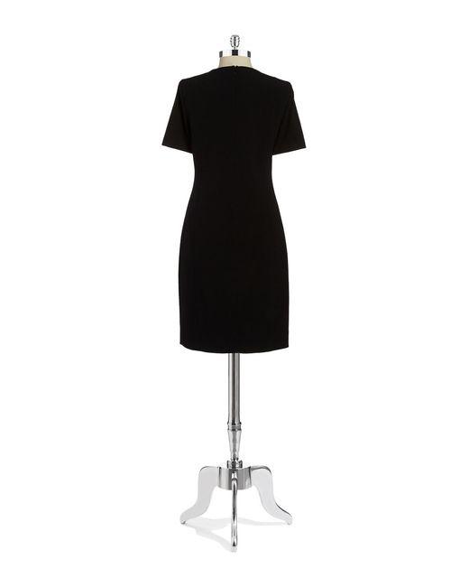 T Tahari | Black V-neck Sheath Dress | Lyst
