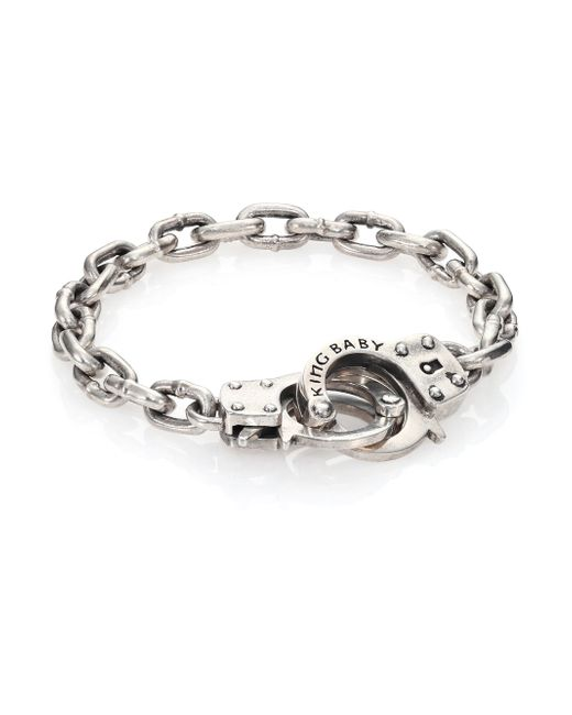 King Baby Studio | Metallic Hand Cuff Silver Bracelet for Men | Lyst