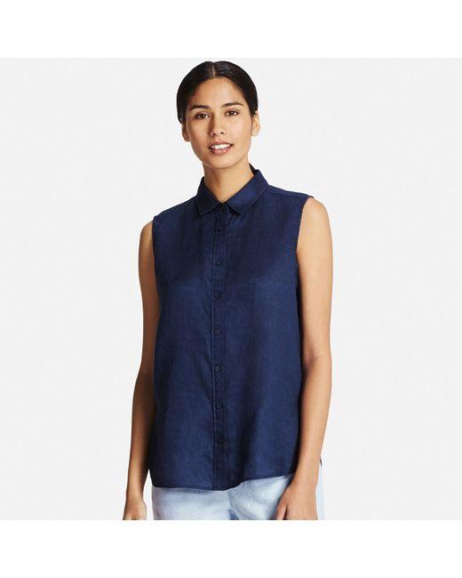 Uniqlo women 39 s premium linen sleeveless shirt in blue lyst for Uniqlo premium t shirt