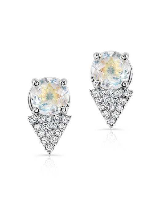 Anne Sisteron | Metallic 14kt White Gold Moonstone Diamond Maddie Stud Earrings | Lyst