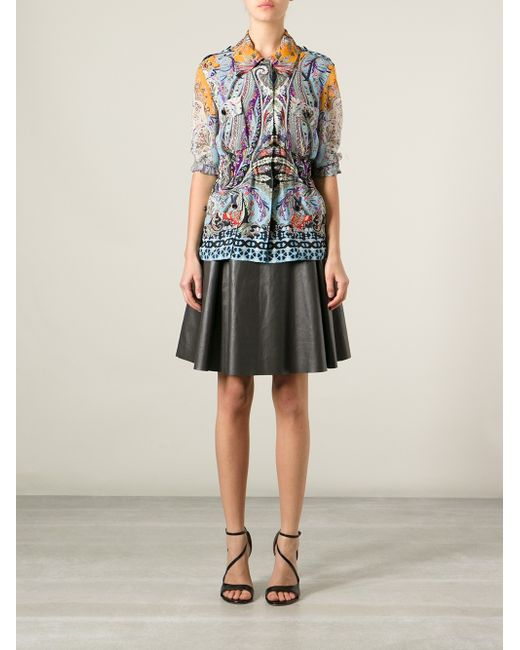 Etro | Multicolor Lace-trimmed Printed Silk Blouse | Lyst