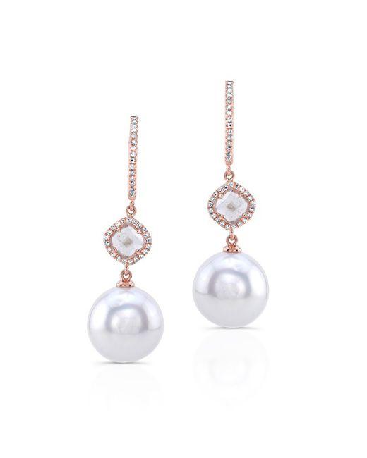 Anne Sisteron - White 14kt Rose Gold Diamond Slice Pearl Drop Earrings - Lyst