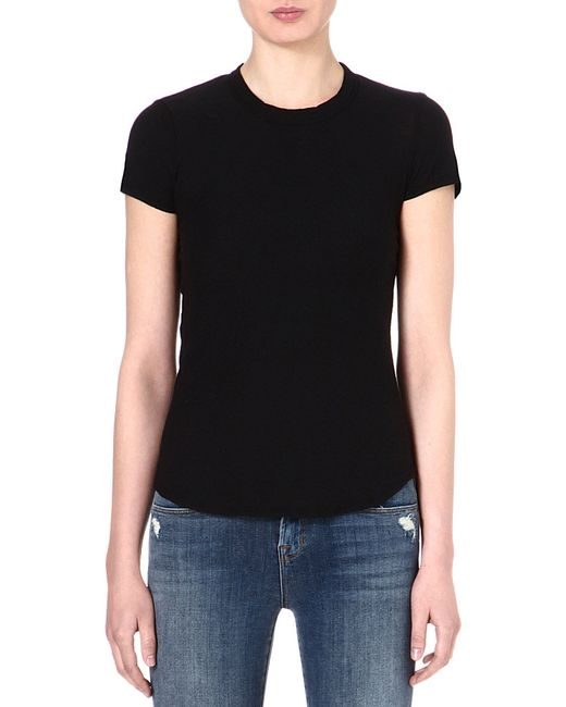 James Perse | Black Crew-neck Cotton T-shirt | Lyst