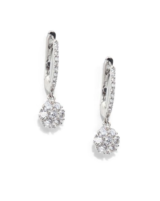Saks Fifth Avenue | 1.0 Tcw Certified Diamond & 18k White Gold Flower Drop Earrings | Lyst