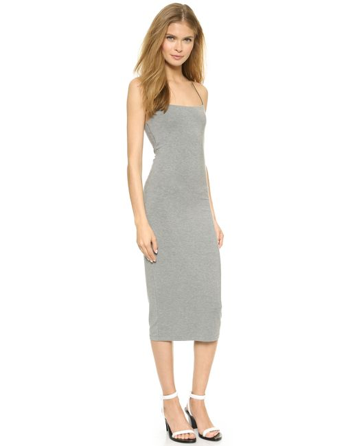 T By Alexander Wang | Gray Strappy Tank Dress | Lyst