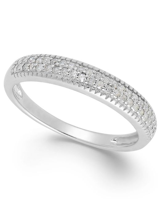 Macy's | Metallic Diamond Band In Sterling Silver (1/4 Ct. T.w.) | Lyst