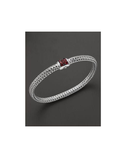 John Hardy | Classic Chain Sterling Silver Lava Extra Small Bracelet With Red Sapphire Clasp | Lyst