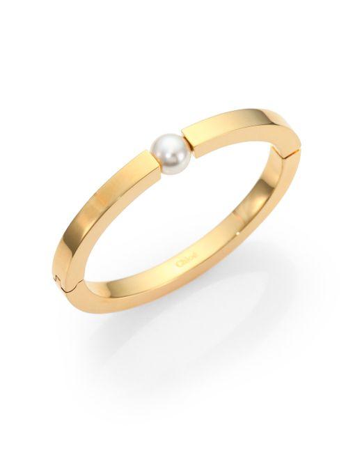 Chloé | Metallic Darcey Faux Pearl Bangle Bracelet | Lyst