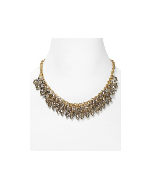ABS By Allen Schwartz | Metallic Chain Beaded Frontal Necklace, 16"
