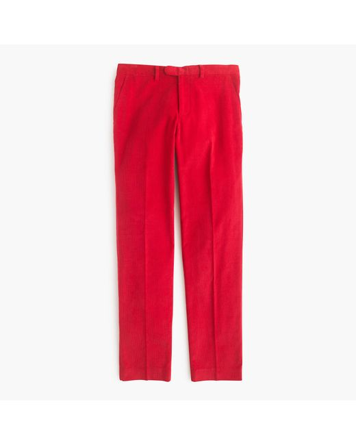 J.Crew   Red Bowery Slim Pant In 18-wale Corduroy for Men   Lyst