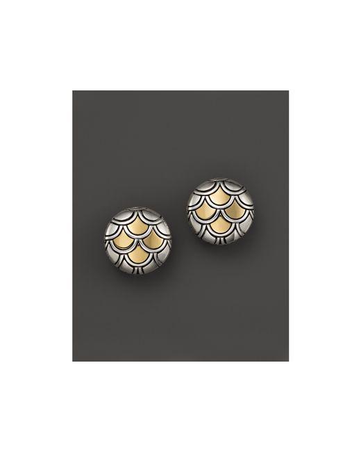 John Hardy | Metallic Sterling Silver & 18k Gold Naga Button Earrings | Lyst