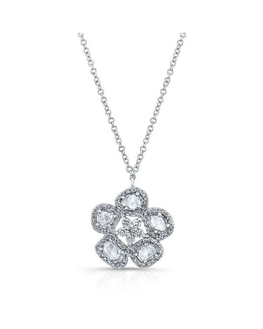 Anne Sisteron | Metallic 14kt White Gold Mae Medium Flower Diamond Slice Necklace | Lyst