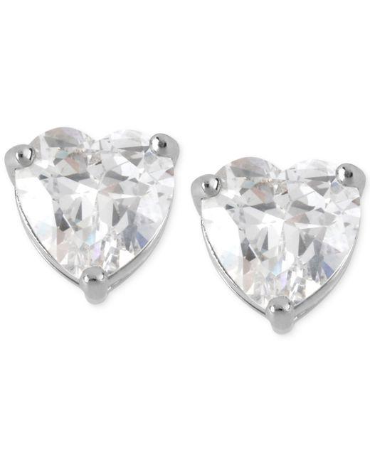 Betsey Johnson | Metallic Silver-tone Clear Crystal Heart Stud Earrings | Lyst