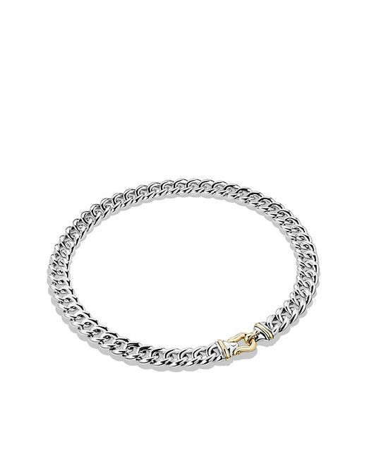 David Yurman | Metallic Buckle Necklace In Sterling Silver And 14k Gold, 14mm | Lyst