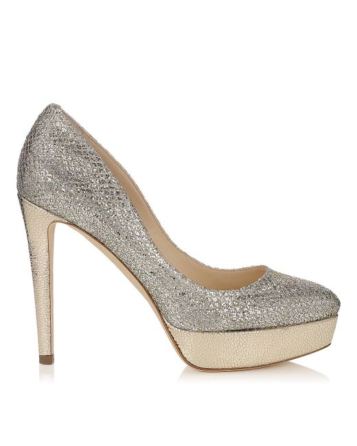 Jimmy Choo | Metallic Eros Glittered Platform Pump | Lyst