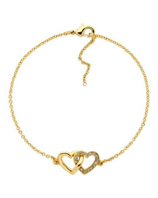 Melissa Odabash | Metallic Swarovski Crystal Double Heart Bracelet | Lyst