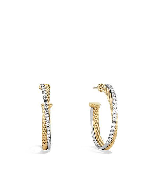 David Yurman   Metallic Crossover Medium Hoop Earrings With Diamonds In 18k Gold   Lyst