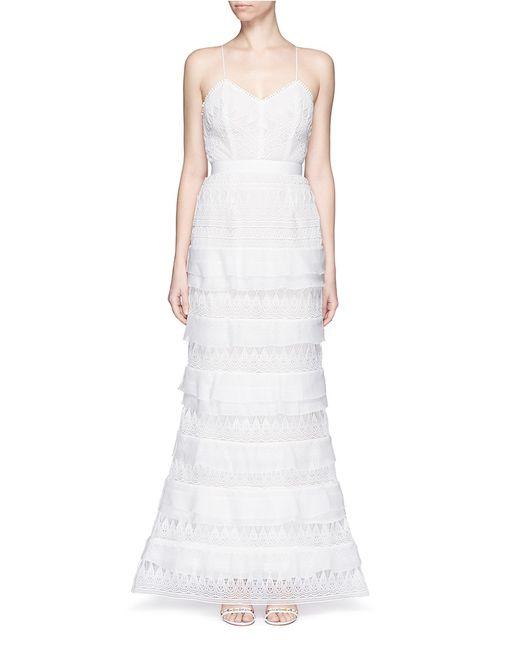 Self portrait penelope tiered teardrop lace gown in white for Self portrait wedding dress