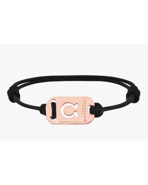 Tateossian | Pink Zodiac 18k Rose Gold Taurus Black Waxed Cord Bracelet for Men | Lyst