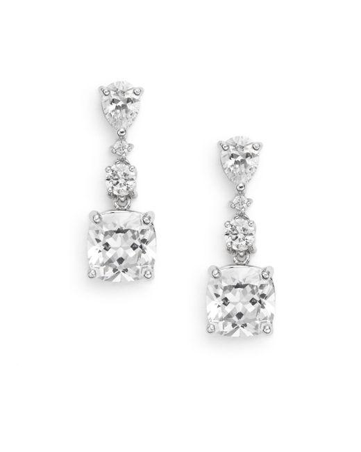 Saks Fifth Avenue   Metallic White Stone Tri-drop Earrings/silvertone   Lyst